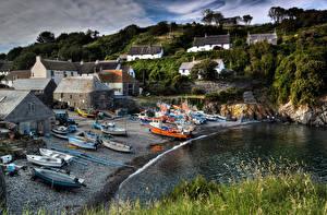 Картинки Англия Побережье Дома Лодки Катера Cornwall Города