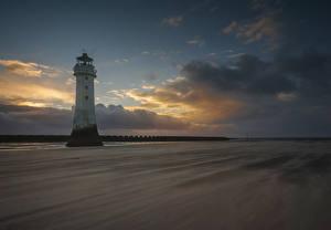 Фотография Англия Маяки Вечер Небо Облака