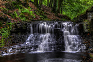 Фото Англия Водопады HDR Мох Ручей Roddlesworth woods waterfall