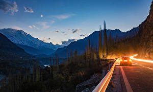 Обои Вечер Горы Дороги Hunza Pakistan Природа