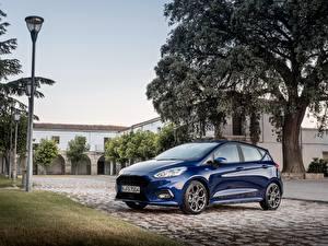 Обои Ford Синий Металлик 2017 Fiesta ST-Line 5-door Worldwide Автомобили картинки