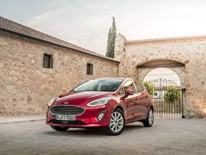 Обои Ford Красный Металлик 2017 Fiesta Titanium 5-door Worldwide Автомобили картинки