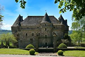 Фотографии Франция Замок Забора Кусты Auzers Castle Города