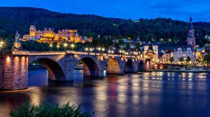 Фотография Германия Дома Реки Мост Вечер Скульптуры Уличные фонари Heidelberg Города