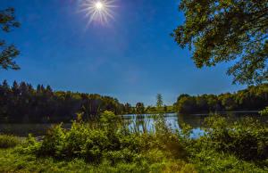 Картинка Германия Речка Солнце Gillenfeld Природа