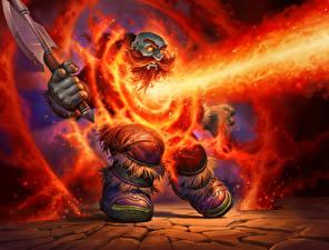 Фотографии Гномы Огонь Воины Hearthstone: Heroes of Warcraft С топором Lava Shock, Blackrock Mountain Игры