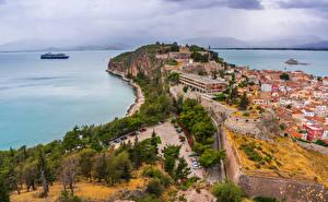 Фотографии Греция Здания Берег Залив Nafplio Города
