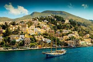 Фотография Греция Дома Парусные Яхта Залив Холмы Symi Города