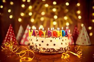 Картинка Праздники Торты Свечи День рождения Английский Продукты питания