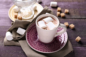 Обои Горячий шоколад Зефирки Чашка Блюдце Пища