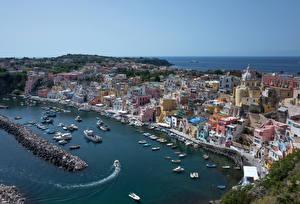 Картинка Здания Побережье Бухта Procida, Campania, Gulf of Naples Города