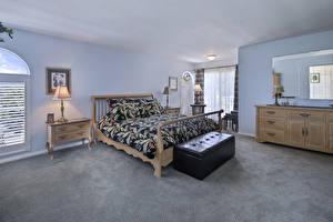 Картинки Интерьер Дизайн Спальня Кровать Лампа