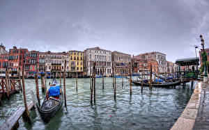 Фотографии Италия Лодки Пирсы Здания Венеция Водный канал San Polo