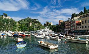 Фото Италия Здания Речные суда Лодки Пристань Яхта Залив Portofino
