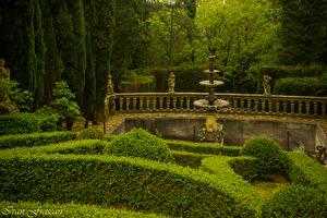 Фото Италия Тоскана Сады Фонтаны Скульптуры Кусты Забор Villa Peyron Garden Природа