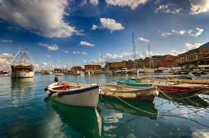 Фотография Лигурия Италия Здания Корабли Лодки Небо Залив Облачно Santa Margherita город