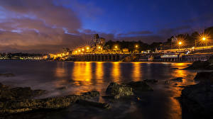 Фотография Лигурия Италия Здания Камень Побережье Залив Ночь Уличные фонари Castagna