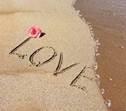 Обои Любовь Слово - Надпись Песок Английский картинки