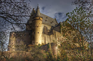 Фото Люксембург Замки Ветки Castle Vianden Города