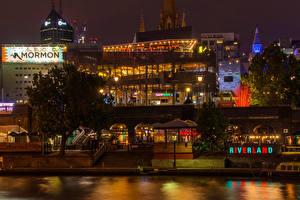 Картинка Мельбурн Австралия Здания Реки Ночь