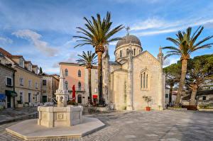 Обои Черногория Здания Храмы Церковь Фонтаны Пальмы Herceg Novi