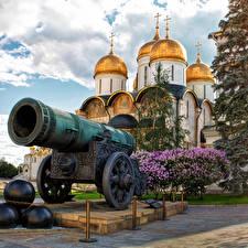 Картинки Москва Пушки Храмы Россия Tsar Cannon Города