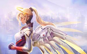 Обои Overwatch Ангелы Крылья Блондинка Mercy Игры Фэнтези