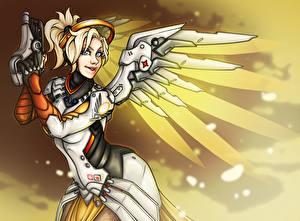 Картинки Overwatch Ангелы Рисованные Fan ART Angela Ziegler, Mercy Игры Фэнтези Девушки