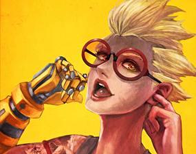 Картинка Рисованные Overwatch Очки Лицо Блондинка Fan ART Junkrat Игры Фэнтези Девушки