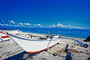 Картинка Филиппины Берег Лодки Небо Песок