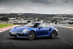 Фотография Porsche Синяя Купе 911 Turbo S Автомобили