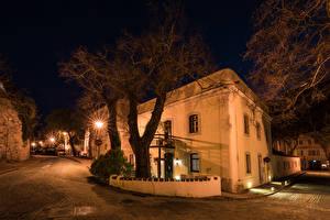 Фотографии Португалия Здания Улица Ночные Дерево Уличные фонари Monchique Города