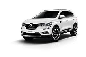 Фотографии Renault Белый фон Белый CUV Koleos машины