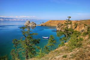 Фотография Россия Озеро Берег Деревья Baikal