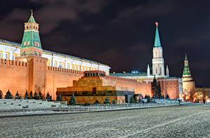 Картинки Москва Россия Московский Кремль Городская площадь Ночь Lenin's Mausoleum