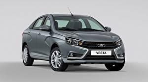 Картинки Российские авто Лада Серый Серый фон Vesta Авто