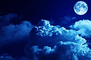 Картинки Небо Ночные Луна Облака