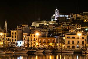 Фото Испания Здания Пирсы Ночь Уличные фонари Ibiza Balearic Islands Города
