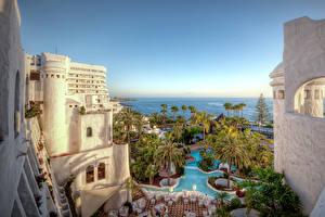 Картинки Испания Курорты Дома Канары Бассейны Пальмы Гостиница Tenerife Города