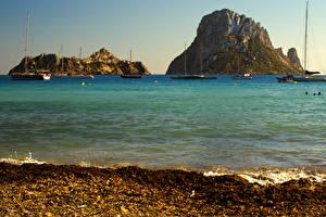 Фото Испания Парусные Яхта Залив Утес Ibiza Природа