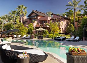 Картинки Испания Вилла Курорты Канарские острова Плавательный бассейн Лежаки Пальмы Tenerife Города