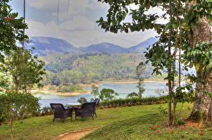 Обои Шри-Ланка Реки Берег Кресло Газон Nuwara Eliya Природа