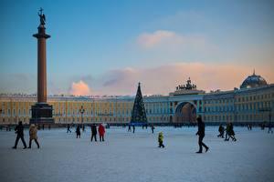 Картинка Санкт-Петербург Россия Люди Городская площадь Улица Palace Square Города