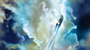 Картинка Космолет Звездный путь Облака Взлет NCC 1701 Кино