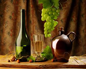 Картинка Натюрморт Вино Виноград Бутылка Кувшин Рюмка Продукты питания