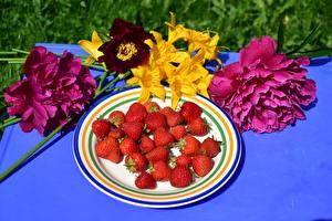 Обои Клубника Пионы Лилии Тарелка Пища Цветы