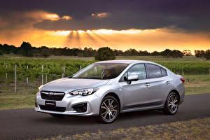 Картинки Субару Серебристый 2016 Impreza Sedan 2.0i Авто