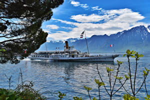 Фото Швейцария Озеро Гора Речные суда Облако Montreux Природа