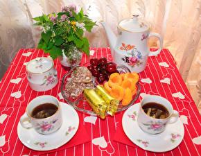Фото Накрытия стола Чай Чайник Завтрак Чашке Пища