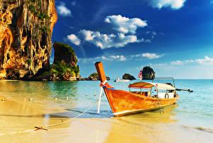 Фотография Таиланд Тропический Побережье Лодки Утес Облака PhraNang Cave Beach Природа